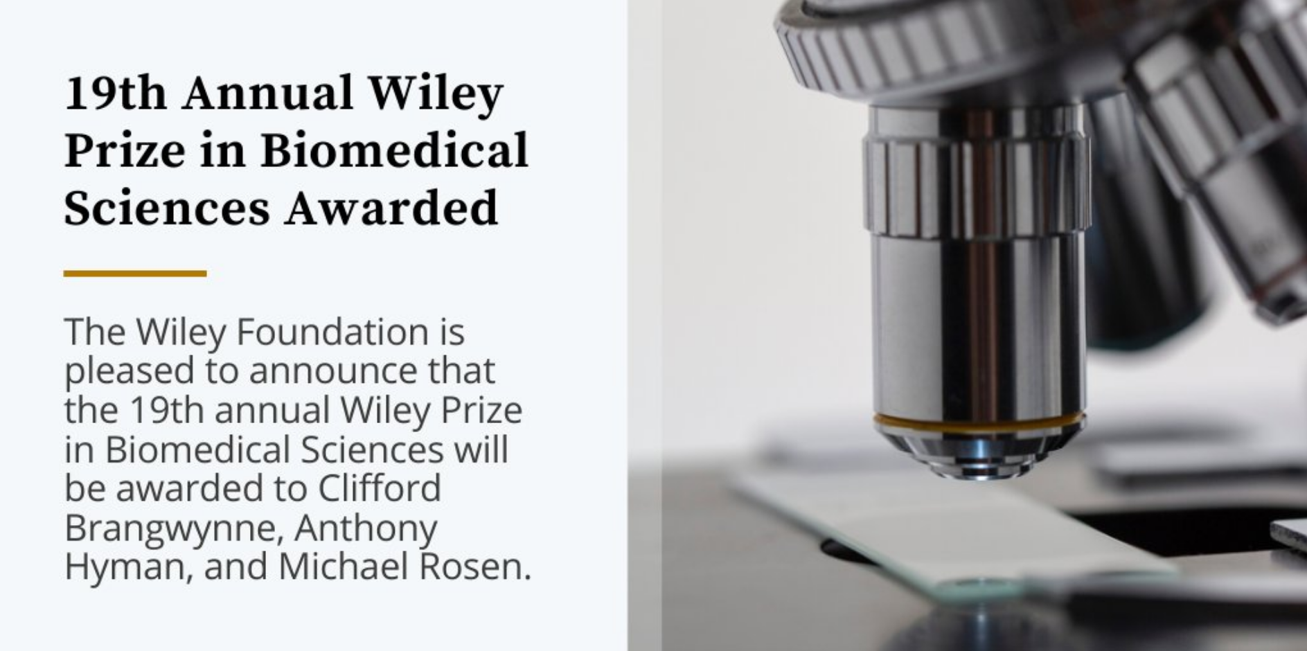 2020 Wiley Prize in Biomolecular Sciences for Anthony Hyman